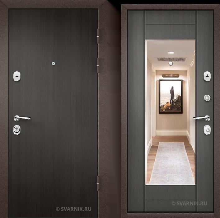 Дверь металлическая с зеркалом в дом ламинат - винорит