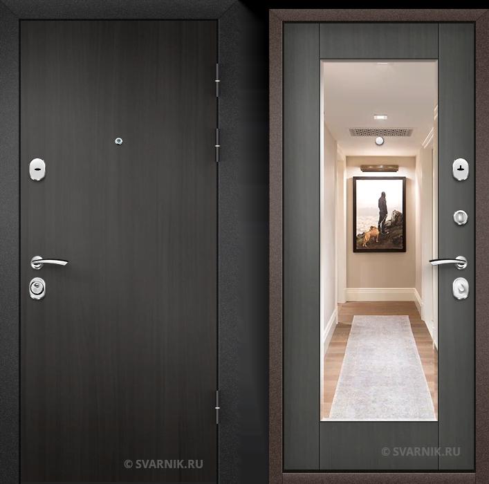 Дверь металлическая с зеркалом в квартиру ламинат - шпон