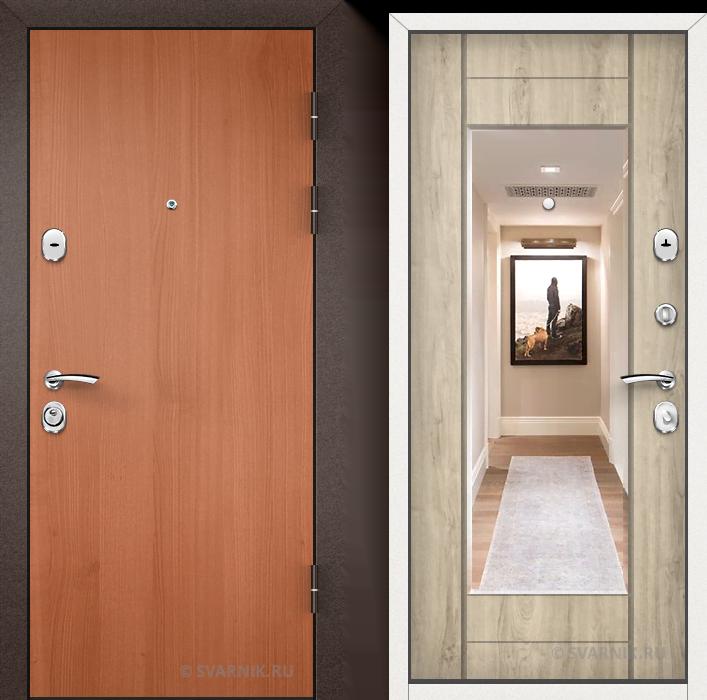 Дверь входная с зеркалом уличная ламинат - МДФ