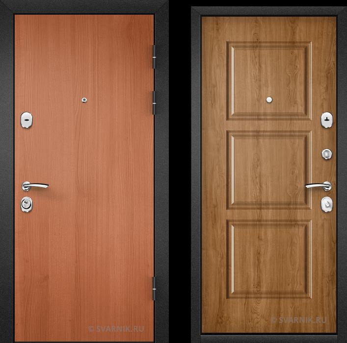 Дверь металлическая правая в дом ламинат - МДФ
