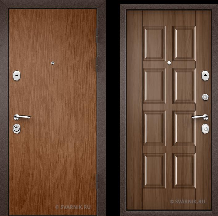 Дверь металлическая трехконтурная в коттедж ламинат - шпон
