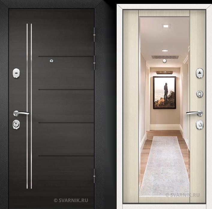 Дверь железная с зеркалом в квартиру МДФ - МДФ