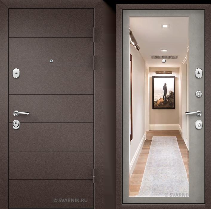 Дверь железная с шумоизоляцией в дом порошковая - шпон